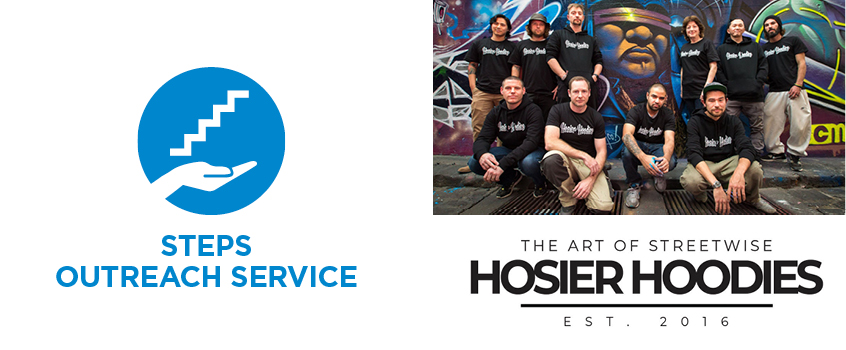 Steps and Hossier Hoodies Logo