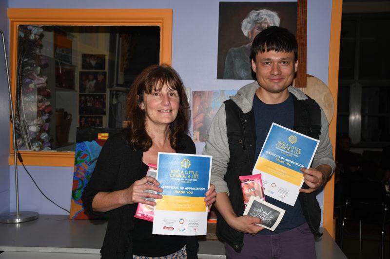 Volunteers receiving certificates of appreciation