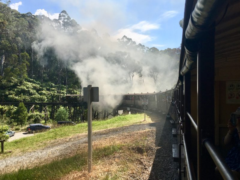 Puffing Billy crossing the Bridge